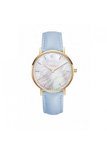 Klasické dámské hodinky modré barvy na koženém řemínku