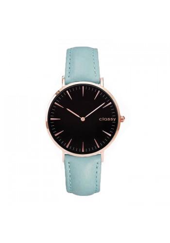 Dámské klasické hodinky s černým ciferníkem v modré barvě