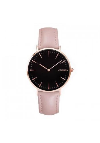 Klasické dámské hodinky růžové barvy s černým ciferníkem