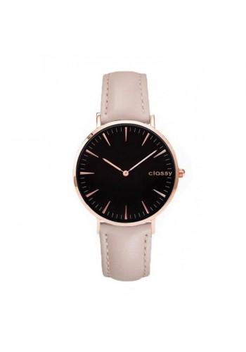 Béžové klasické hodinky s černým ciferníkem pro dámy