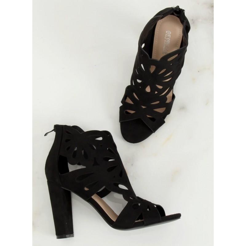Černé azurový boty na stabilním podpatku pro dámy