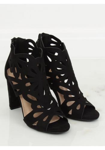 Černé azurový boty na stabilním podpatku pro dámy ve slevě