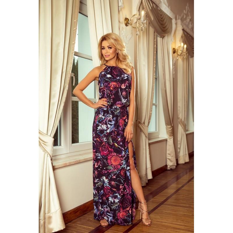 Dámské dlouhé šaty s květy ve fialové barvě
