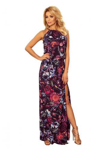 Dámské dlouhé šaty s květy ve fialové barvě v akci