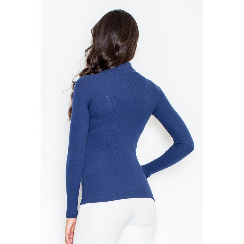 Bavlněné dámské roláky tmavě modré barvy s dlouhým rukávem