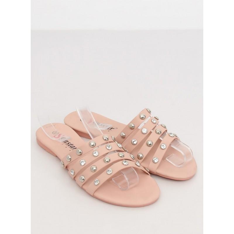 Dámské módní pantofle s kameny a vybíjením v růžové barvě