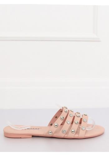 Dámské módní pantofle s kameny a vybíjením v růžové barvě v akci