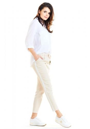 Dámské módní kalhoty s kontrastním pásem v béžové barvě