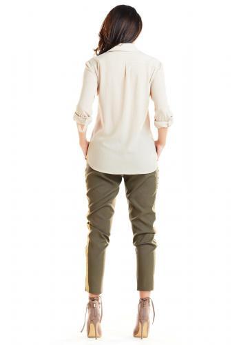 Módní dámské kalhoty khaki barvy s kontrastním pásem