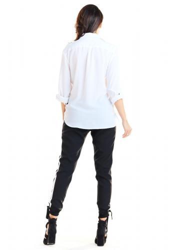 Černé módní kalhoty s kontrastním pásem pro dámy