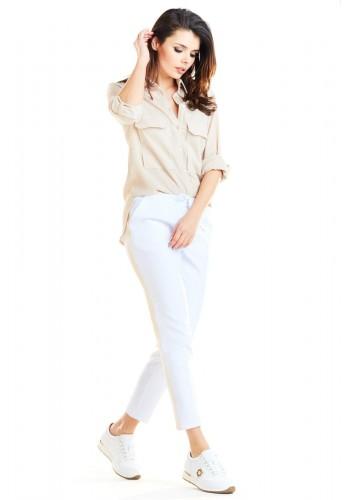 Dámské módní kalhoty s kontrastním pásem v bílé barvě