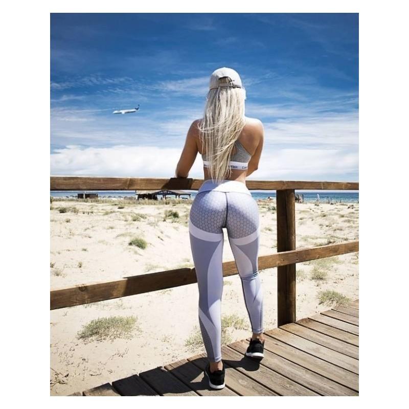 Šedo-bílé sportovní legíny se vzorem pro dámy