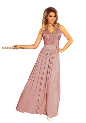 Dlouhé dámské šaty starorůžové barvy s vyšívaným výstřihem