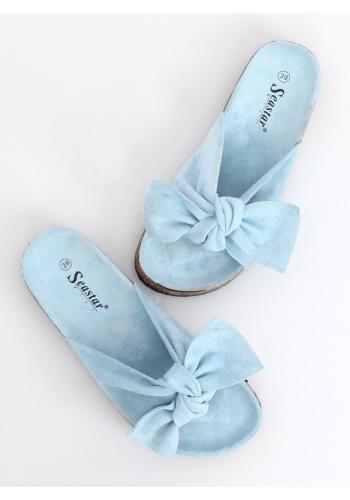 Semišové dámské pantofle modré barvy s mašlí ve slevě