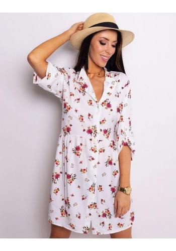 Dámské květované šaty s dlouhým rukávem v bílé barvě