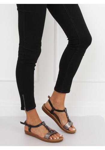 Černé pohodlné sandály s metalickými doplňky pro dámy