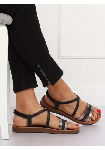 Dámské pohodlné sandály s metalickými prvky v černé barvě