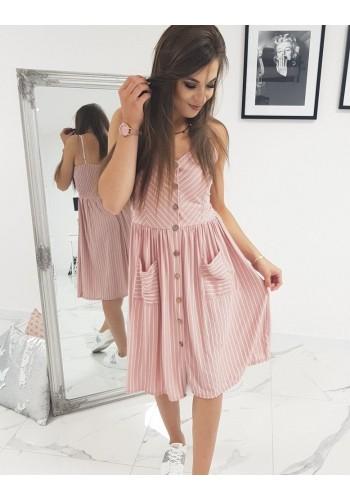 Dámské proužkované šaty na ramínka v růžové barvě