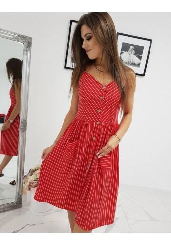 Červené proužkované šaty na ramínka pro dámy