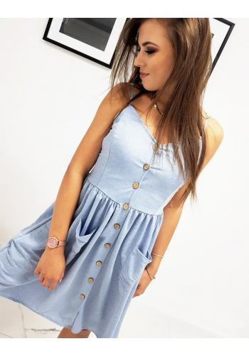Módní dámské šaty modré barvy na ramínka