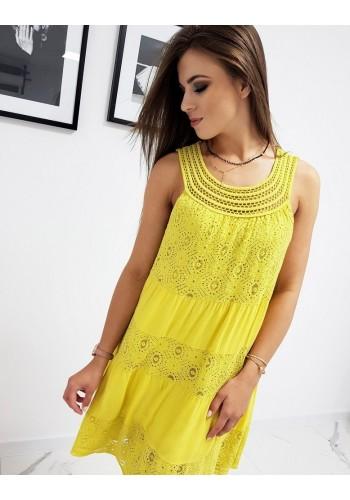 Dámské stylové šaty na ramínka ve žluté barvě