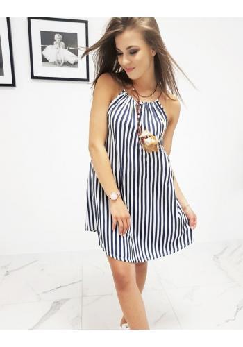 Proužkované dámské šaty modro-bílé barvy na ramínka