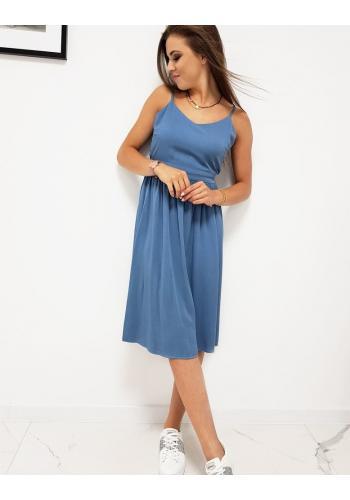 Modré letní šaty na ramínka pro dámy