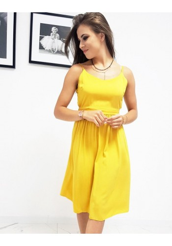 Letní dámské šaty žluté barvy na ramínka