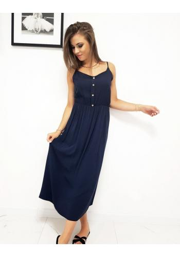 Tmavě modré dlouhé šaty na ramínka pro dámy