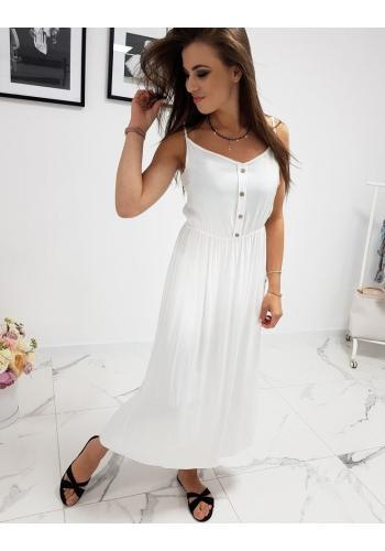Dlouhé dámské šaty bílé barvy na ramínka