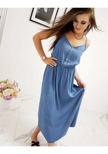 Dámské dlouhé šaty na ramínka v modré barvě