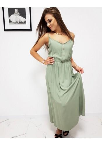 Olivové dlouhé šaty na ramínka pro dámy