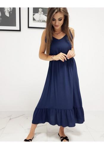 Dlouhé dámské šaty tmavě modré barvy s volánem