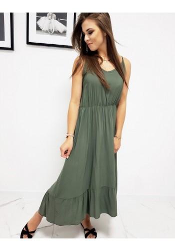 Dámské dlouhé šaty s volánem v olivové barvě