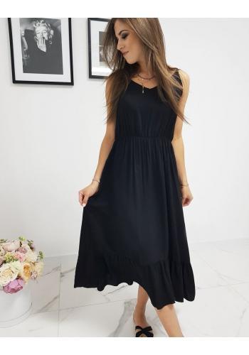 Černé dlouhé šaty s volánem pro dámy