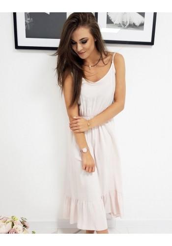 Dlouhé dámské šaty růžové barvy s volánem