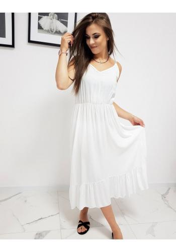 Dámské dlouhé šaty s volánem v bílé barvě
