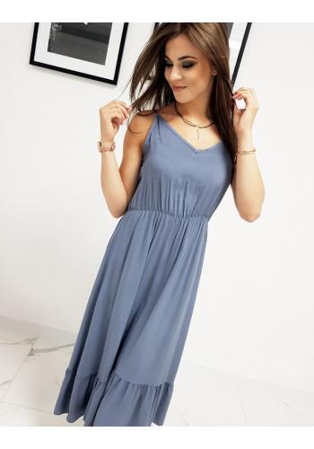 Modré dlouhé šaty s volánem pro dámy