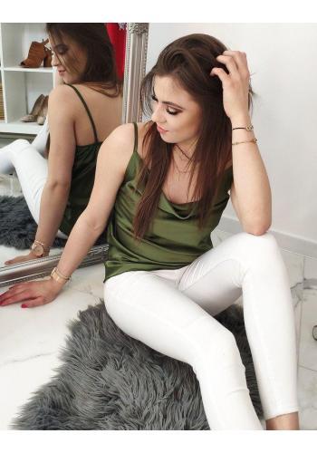 Zelená hladká halenka na ramínka pro dámy
