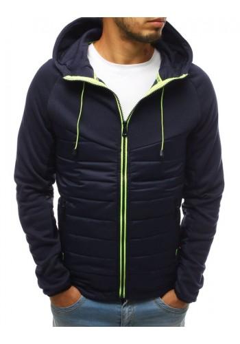 Pánská prošívaná bunda na přechodné období v tmavě modré barvě