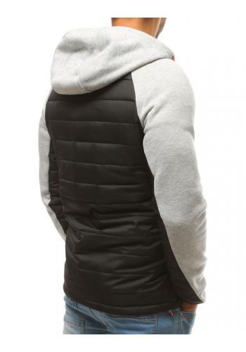 Prošívaná pánská bunda šedé barvy na přechodné období