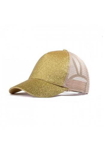 Dámská módní kšiltovka s brokátovou přední částí v zlaté barvě