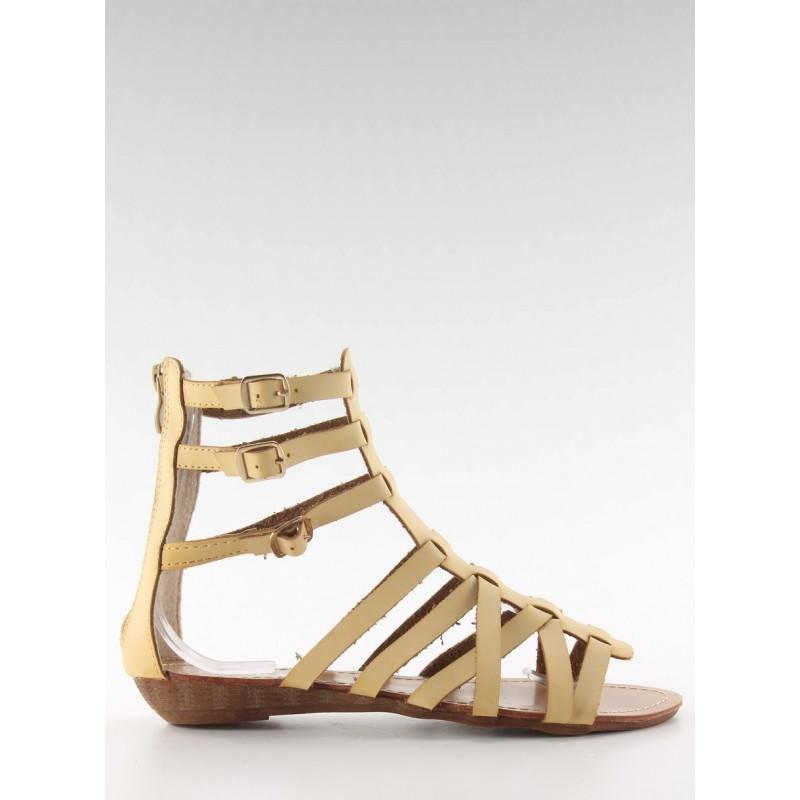 Modré dámské sandály s řetízky a potiskem
