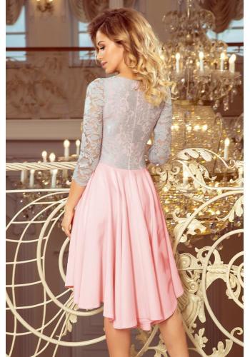 Růžovo-šedé asymetrické šaty s krajkovým výstřihem pro dámy