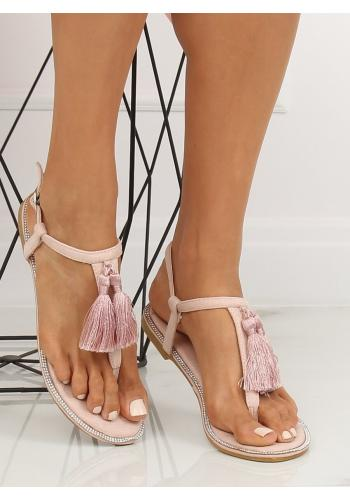 Dámské semišové sandály s ozdobnými třásněmi v růžové barvě