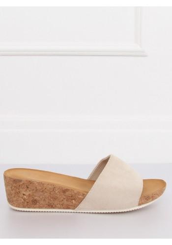 Béžové semišové pantofle na korkové platformě pro dámy