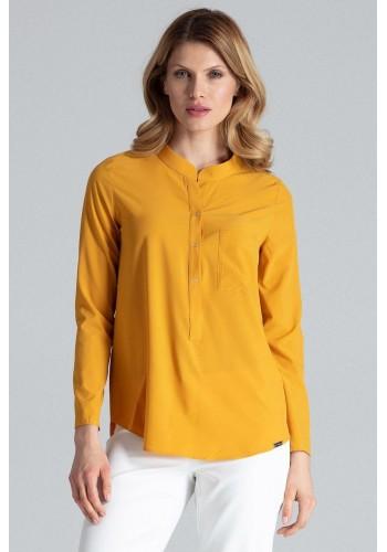 Klasická dámská košile hořčicové barvy s dlouhým rukávem