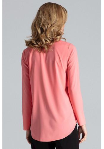 Korálová klasická košile s dlouhým rukávem pro dámy