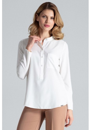 Dámská klasická košile s dlouhým rukávem v bílé barvě