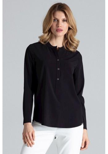 Klasická dámská košile černé barvy s dlouhým rukávem